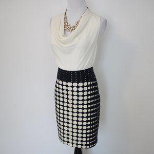 BANANA REPUBLIC Size 2 Skirt Blouse Set Blue Cream